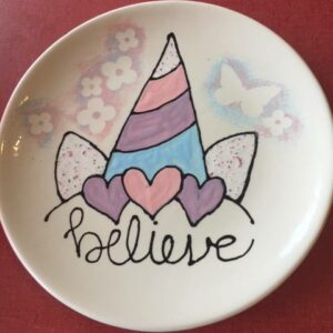 Custom Ceramic Plate that says believe