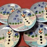 Childs Hand Painted Snowman Plate