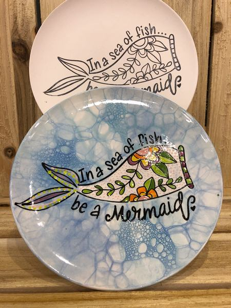Hand Painted Ceramic Plate in a sea of fish be a mermaid