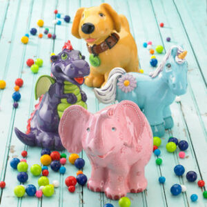 Ceramic Animal Figurines of Elephant, Dragon, Unicorn and Doggie