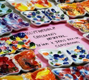 Blythedale Childrens Hospital Pottery Butterfly Plates