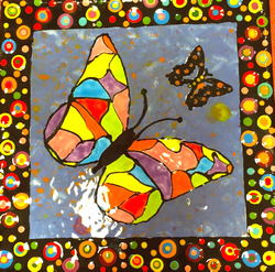 Hand Painted Creamic Butterfly Tile